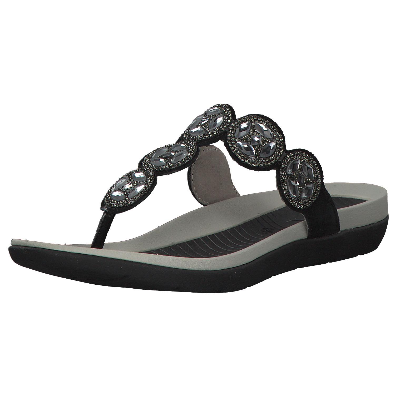 huge discount cccbd 53f2b Details zu Ara Nepal Damen Sandalen Pantoletten Zehentrenner 12-35925-01  Schwarz Neu