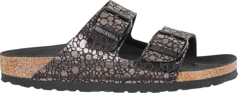 Neu Birkenstock Metallic Pantoletten Normal Details Arizona Zu Sandalen 1008871 Schwarz Y76gyfb