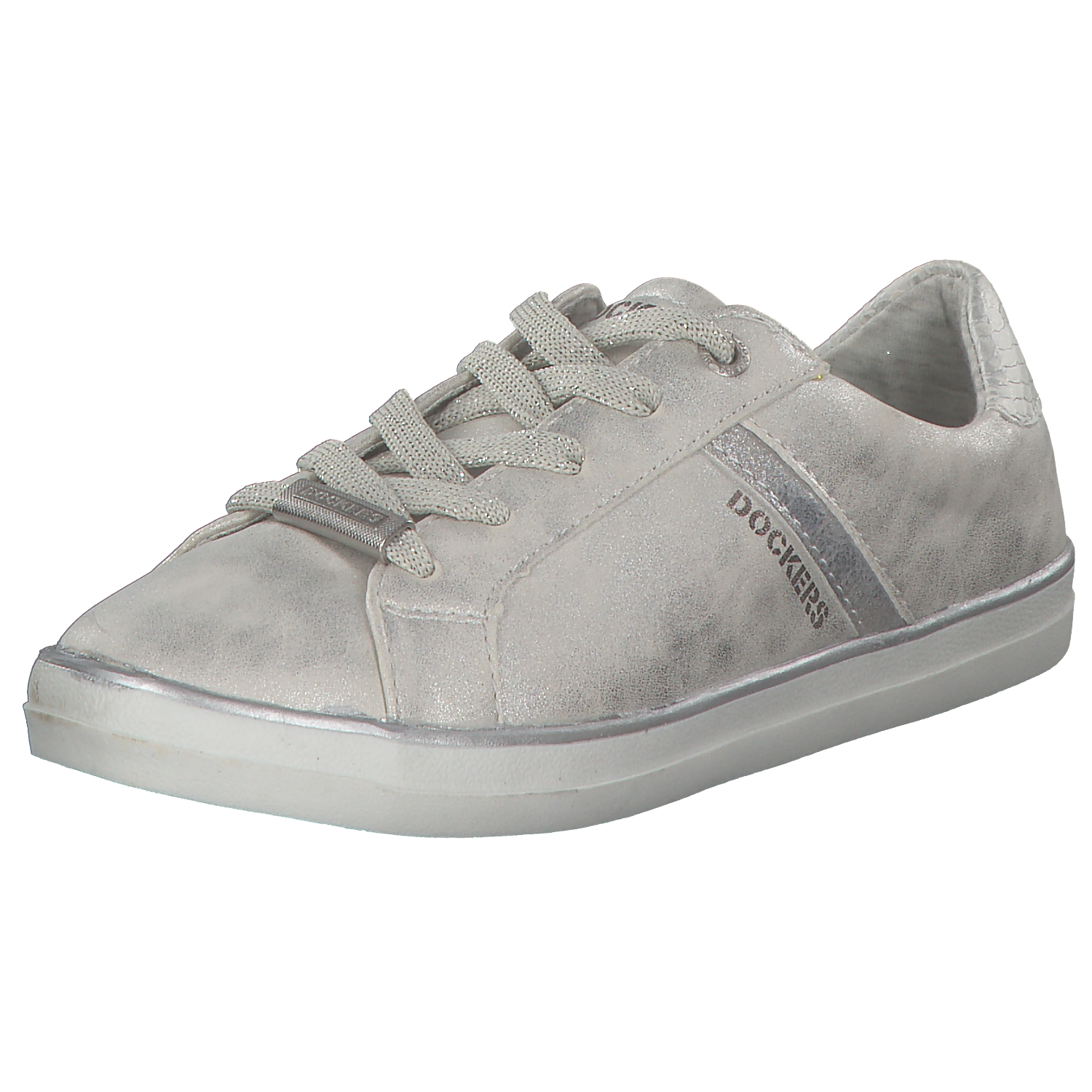 Dockers Women's Sneakers Low Lace up Slip on Lace-Up 40aa814 Silver New