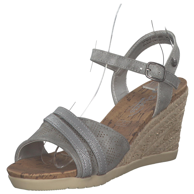 Dockers Donna SANDALETTI SANDALI ZEPPA TACCHI scarpe estive grigio argento NUOVO