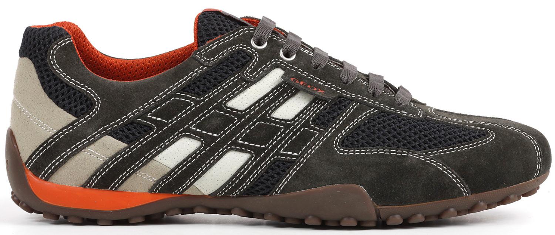 Details zu Geox Snake Herren Sneakers Turnschuhe U4207k 02214c1300 Grau Weiß Orange Neu