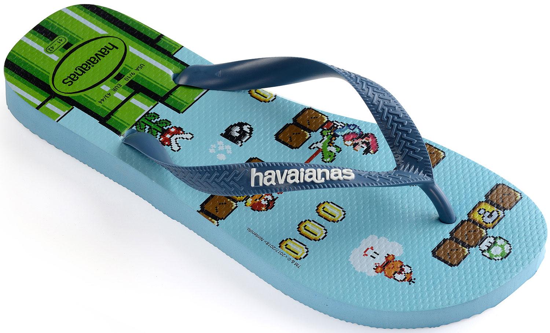 Havaianas Mario Bros Damen Herren Flipflops Zehentrenner 4140269.0061 Blau Neu