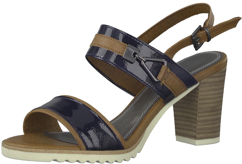 glatt erstklassiger Profi elegante Schuhe Details zu Marco Tozzi Damen Sandaletten Sommerschuhe 2-2-287047-20/847  Blau Braun Neu