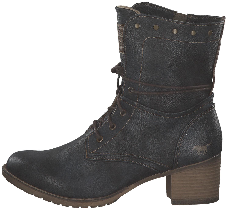 brand new d4dc8 c304a MUSTANG DAMEN STIEFELETTEN Schnürstiefel Stiefel Boots Mit Absatz Blau Neu