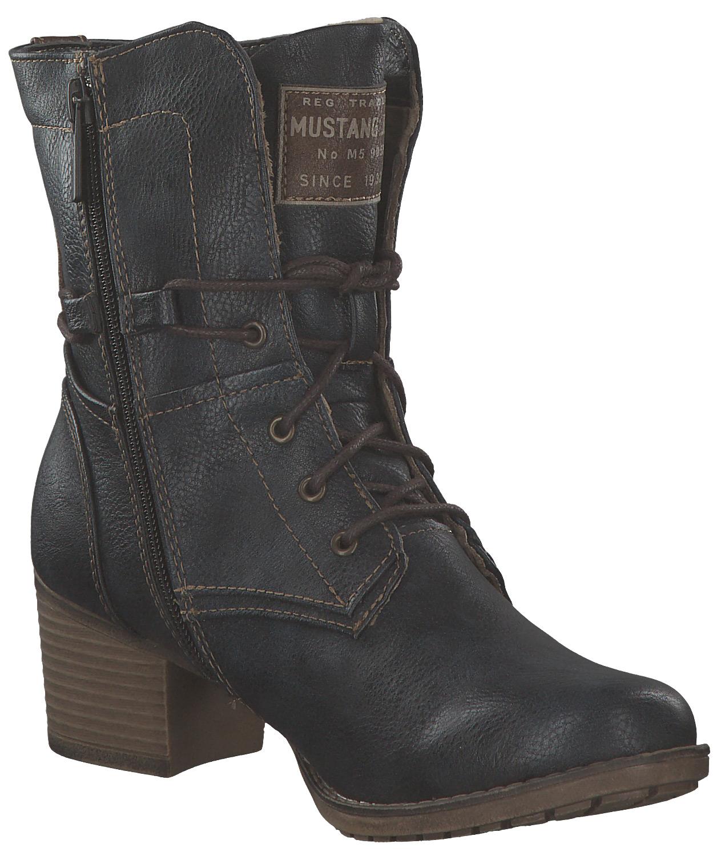 Boots Stiefeletten Mit Stiefel Schnürstiefel Damen Absatz Mustang q4CwxnpZI