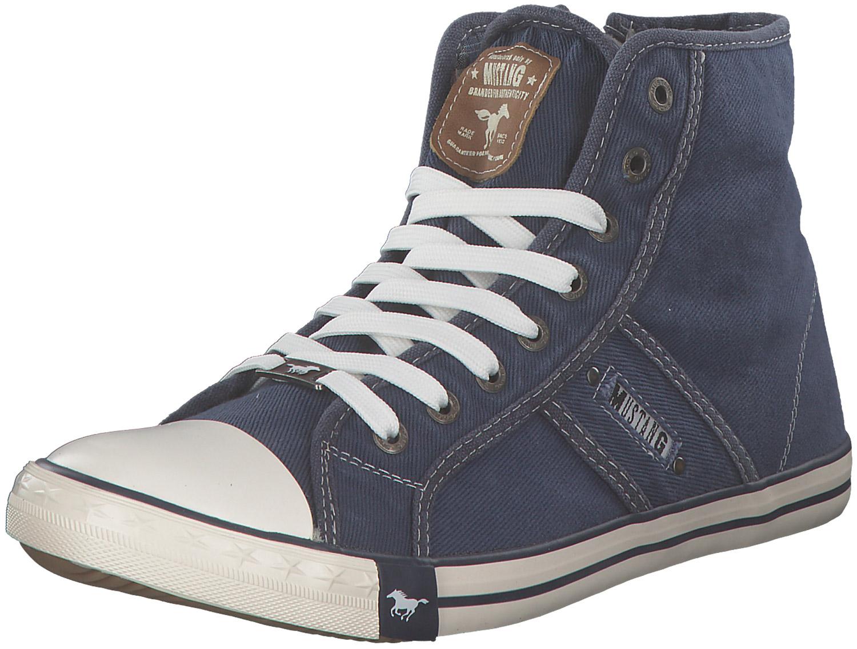 huge selection of 9d4ab 94afd Details zu Mustang Herren Sneakers High Hoch Boots Schnürschuhe Männer  Textil Blau Neu