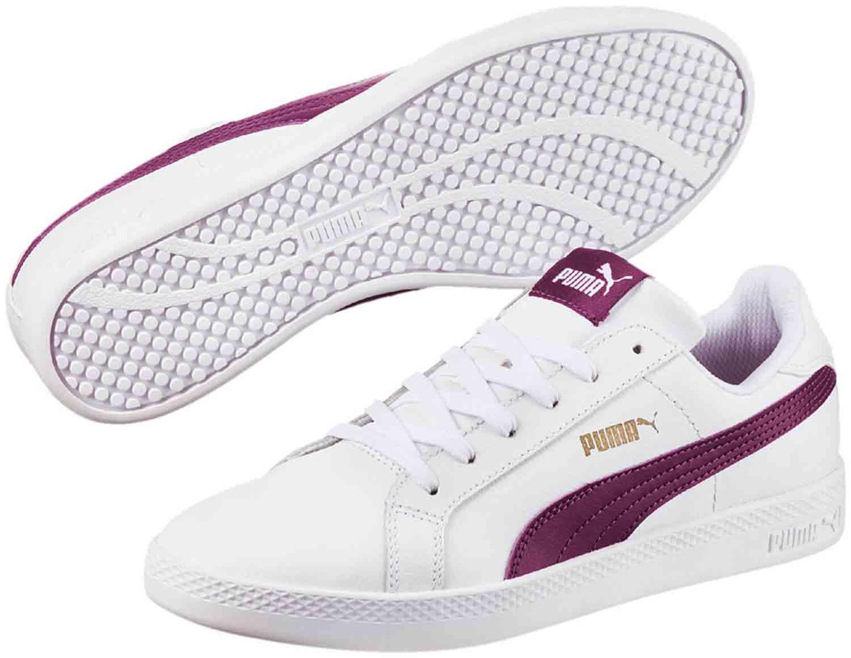 Puma Smash Damen Schuhe Sneakers Turnschuhe 360780 014 Weiß Violett Neu