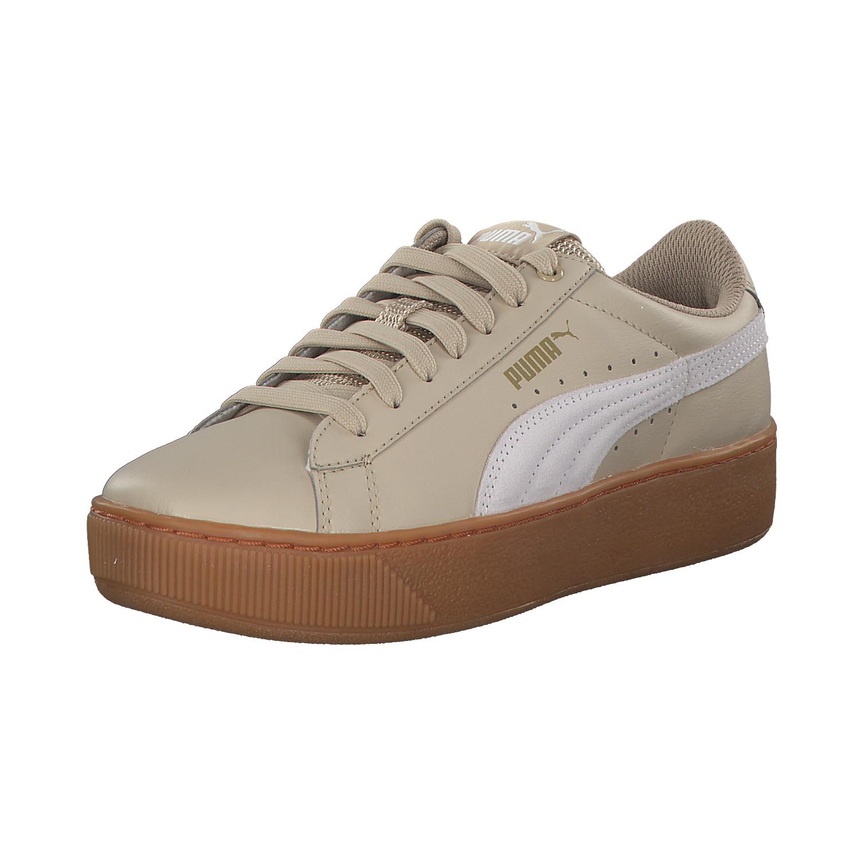 Puma Vikky Platform Damen Sneakers Turnschuhe 364893 003 Beige Weiß Neu