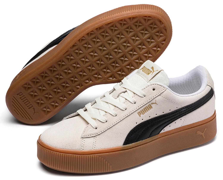 Details zu Puma Vikky Stacked Damen Sneakers Turnschuhe 369144004 Weißgold Neu