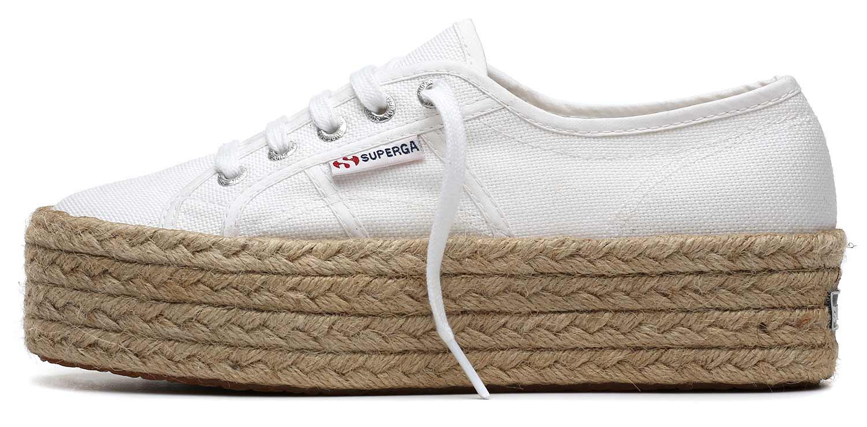 SUPERGA scarpe sneaker donna da Ginnastica COTU S0099Z0 901 plateau bianco