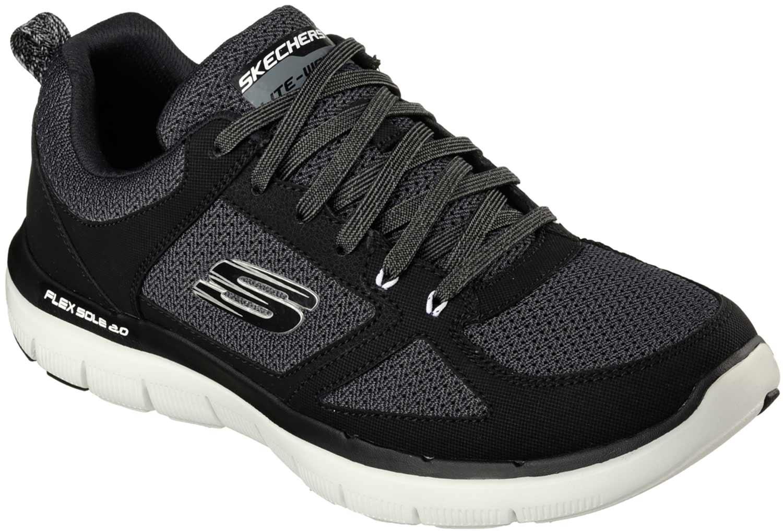 Détails sur Skechers Avantage Flex Basket Sneakers D'Homme 52180 Bkw Noir Gris Neuf