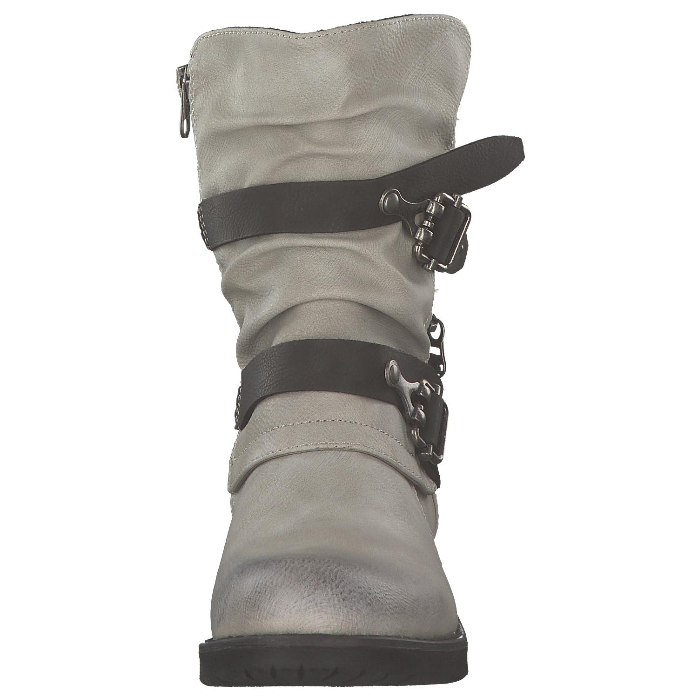 5 von 8 Tom Tailor Damen Stiefel Biker Boots Winterstiefel Stiefeletten  Grau Weiß Neu 1275c2a1f6