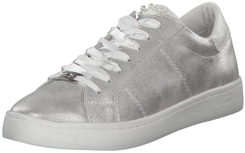 the best attitude 5481e c6085 Tom Tailor Damen Frauen Sneakers Low Schnürschuhe Turnschuhe Metallic  Silber Neu   eBay