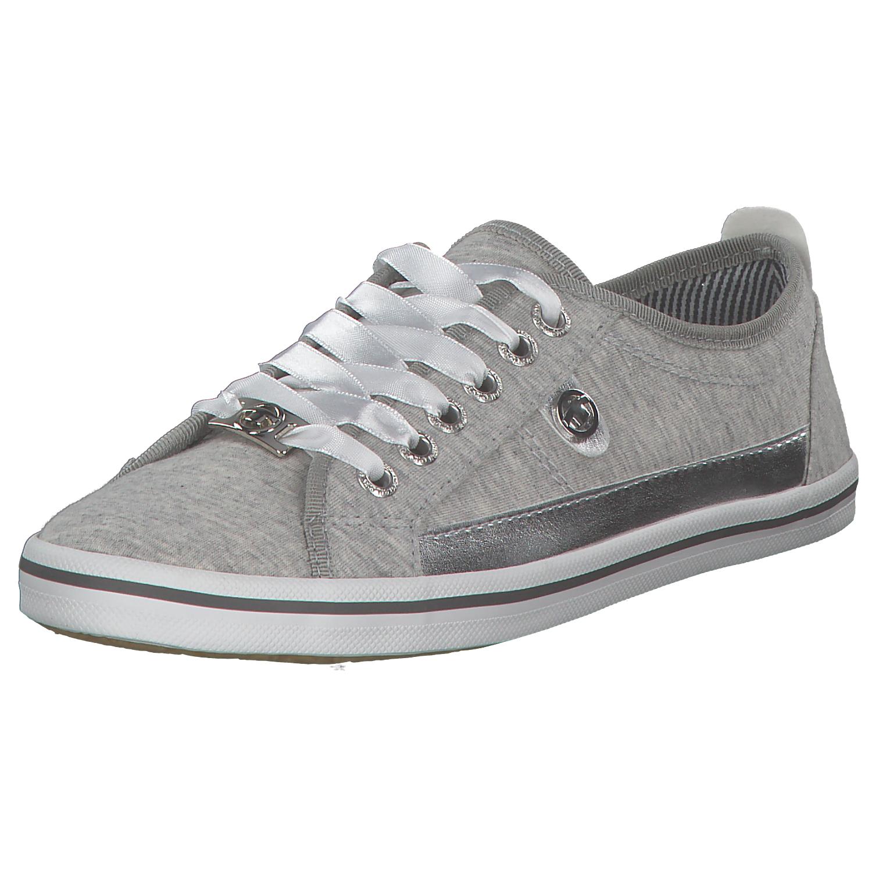 Tom Tailor Mujer Zapatillas de Deporte Zapatos Lona Low Bajo Gris metálico NUEVO
