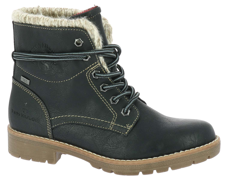 hot sale online 68bd5 76bbb Details zu Tom Tailor Damen Stiefel Boots Winterschuhe 5892001 Schwarz Weiß  Neu