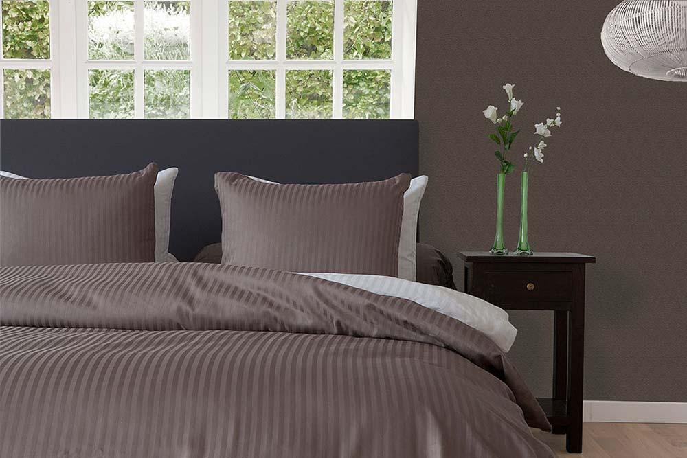 hnl premium bettw sche garnitur mako satin baumwolle uni taupe beige grau neu ebay. Black Bedroom Furniture Sets. Home Design Ideas