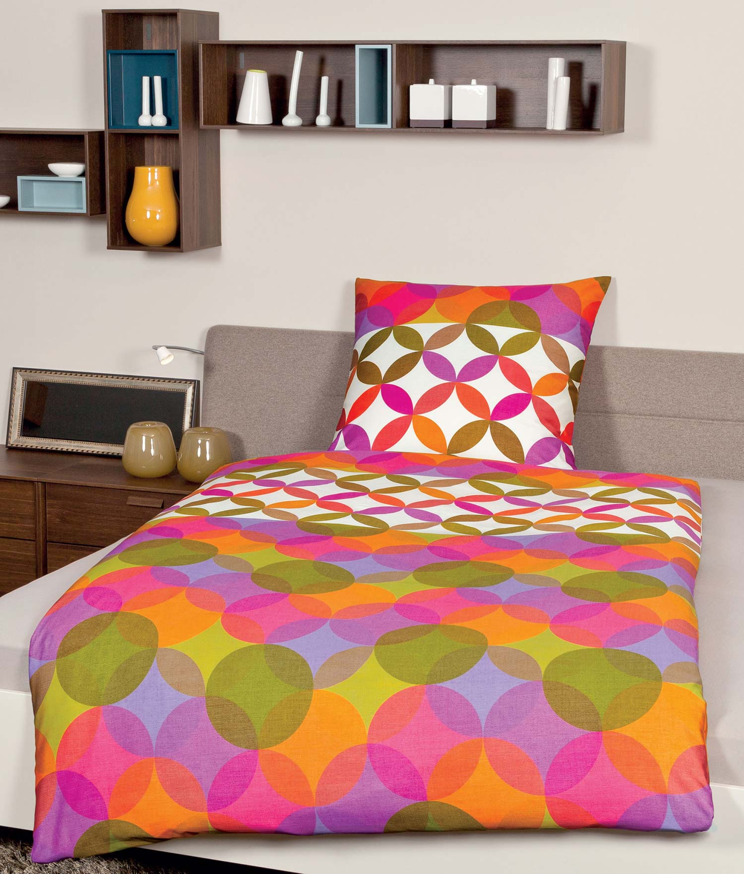 janine j d junge mako satin bettw sche garnitur blau gr n bunt kariert neu ebay. Black Bedroom Furniture Sets. Home Design Ideas