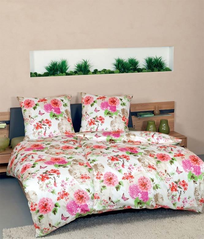 janine modern art mako satin bettw sche garnitur 4717 04 blumen ebay. Black Bedroom Furniture Sets. Home Design Ideas