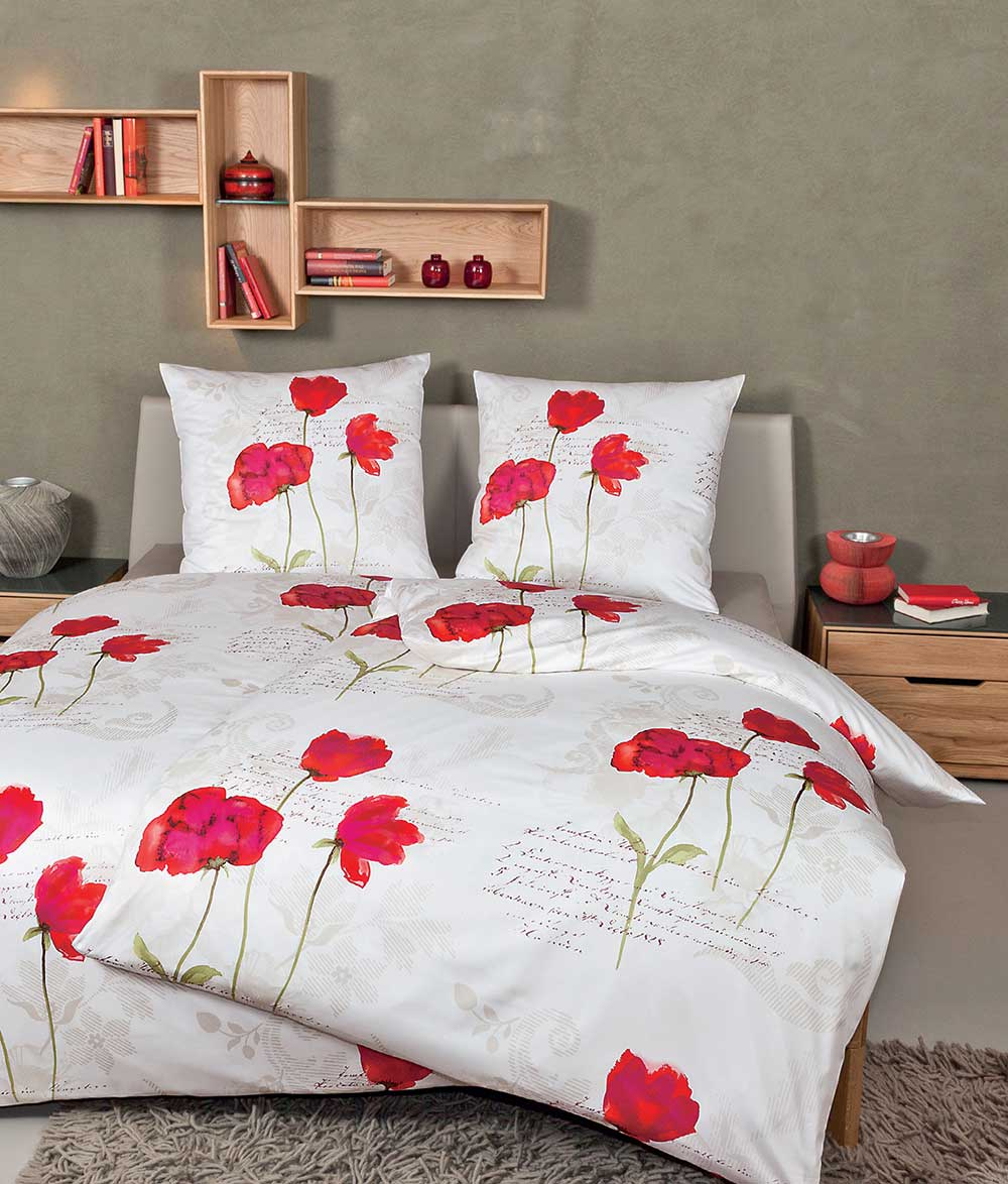 janine messina edel mako satin bettw sche garnitur grau rot 4716 01 ebay. Black Bedroom Furniture Sets. Home Design Ideas
